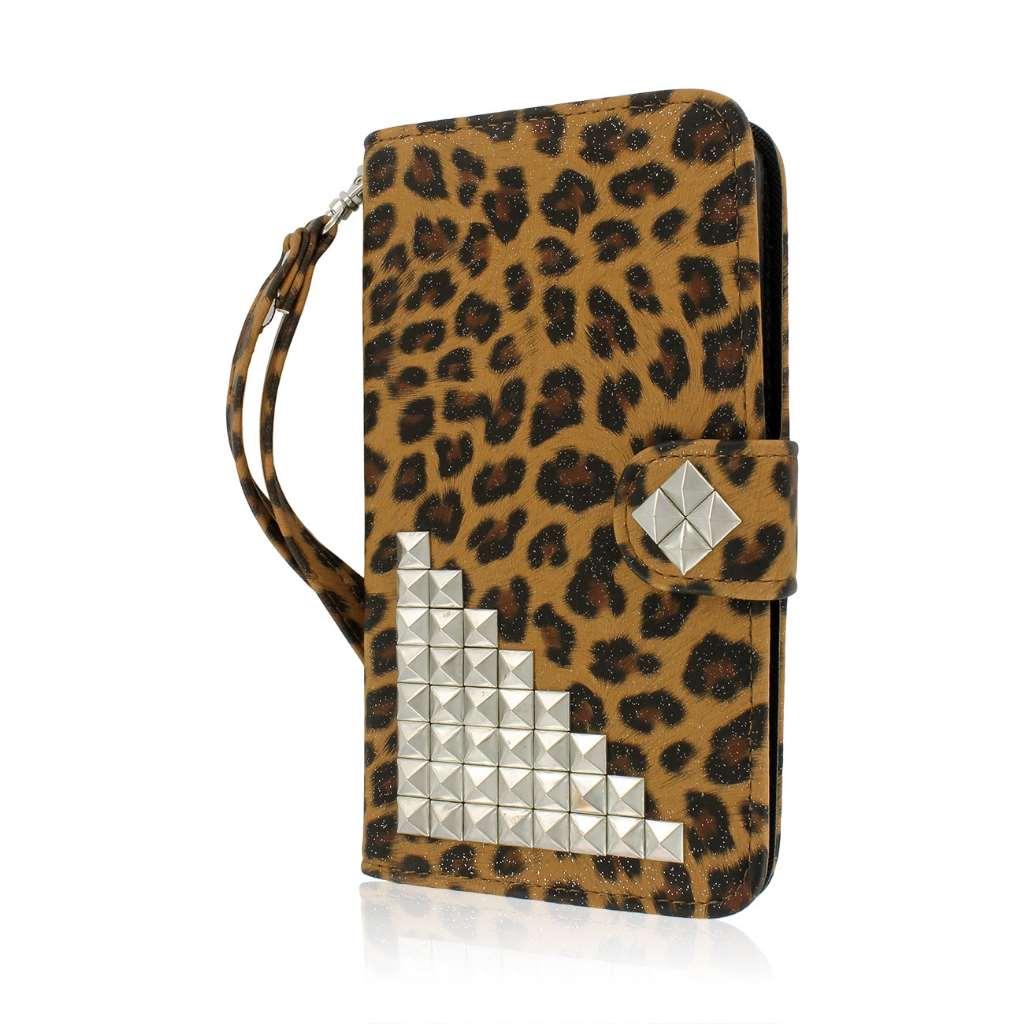 LG G Pro 2 - Studded Leopard MPERO FLEX FLIP Wallet Case Cover