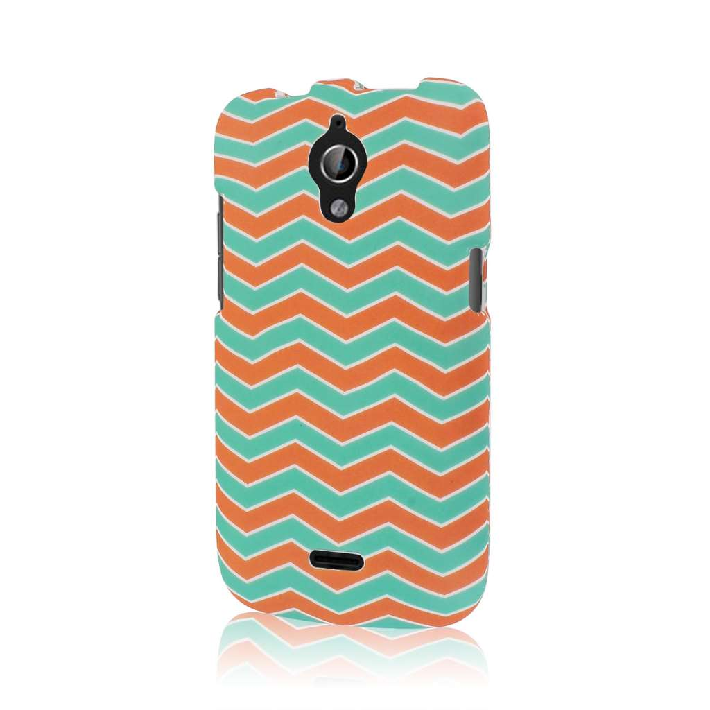Huawei Vitria - Mint Chevron MPERO SNAPZ - Rubberized Case Cover