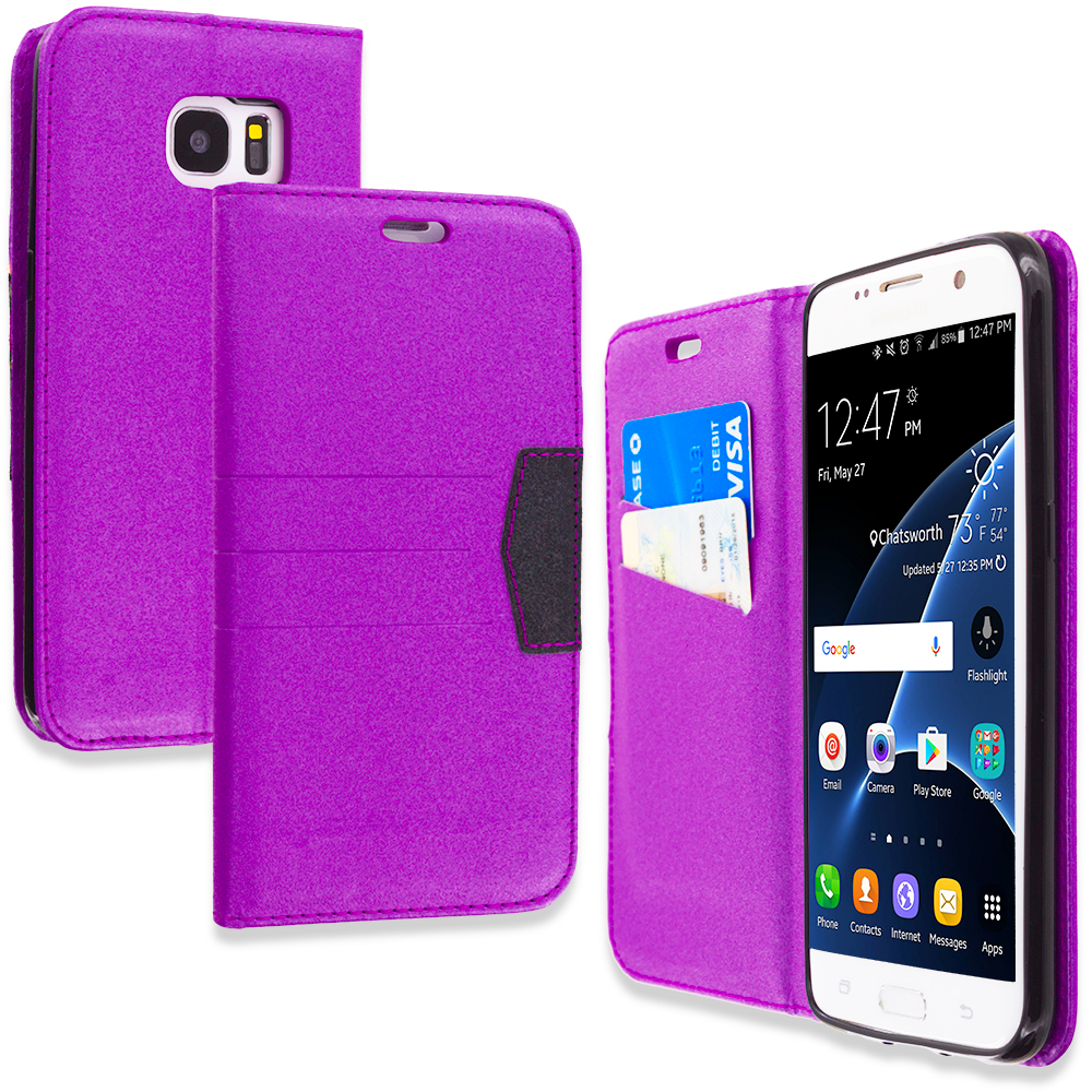 Samsung Galaxy S7 Edge Purple Wallet Flip Leather Pouch Case Cover with ID Card Slots