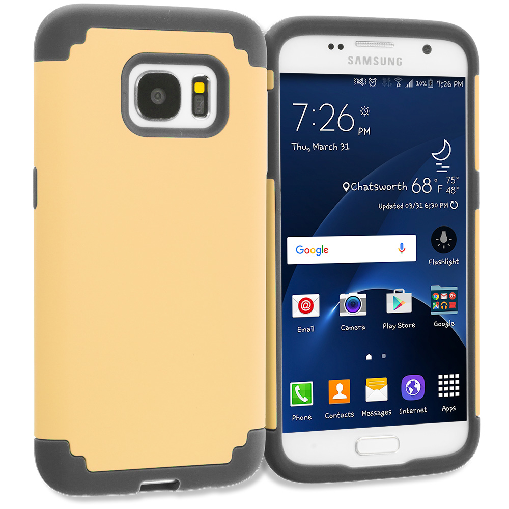 Samsung Galaxy S7 Combo Pack : Black / Black Hybrid Slim Hard Soft Rubber Impact Protector Case Cover : Color Gold / Black