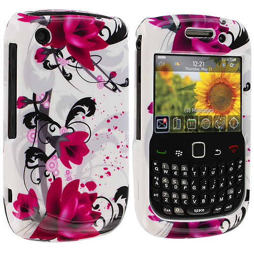 BlackBerry Curve 8520 8530 3G 9300 9330 Red Flowers Design Crystal Hard Case Cover