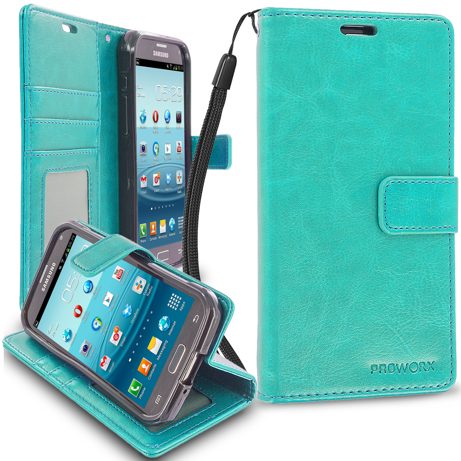 Samsung Galaxy S5 Active Mint Green ProWorx Wallet Case Luxury PU Leather Case Cover With Card Slots & Stand