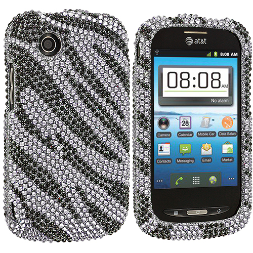 ZTE Avail Z990 Black / Silver Zebra Bling Rhinestone Case Cover