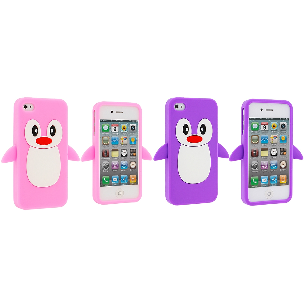 Apple iPhone 4 / 4S 2 in 1 Combo Bundle Pack - Pink Purple Penguin Silicone Design Soft Skin Case Cover