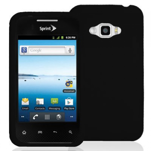 LG Optimus Elite LS696 Black Silicone Soft Skin Case Cover