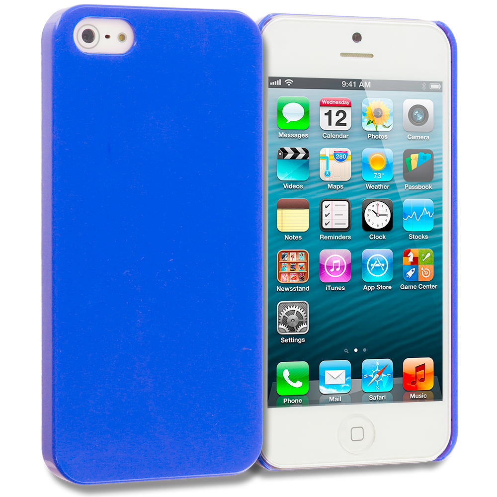 Apple iPhone 5/5S/SE 2 in 1 Combo Bundle Pack - Baby Blue Blue Solid Crystal Hard Back Cover Case : Color Blue Solid