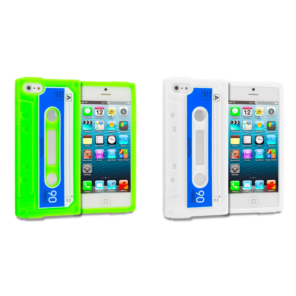 Apple iPhone 5/5S/SE 2 in 1 Combo Bundle Pack - Neon Green White Cassette Silicone Soft Skin Case Cover