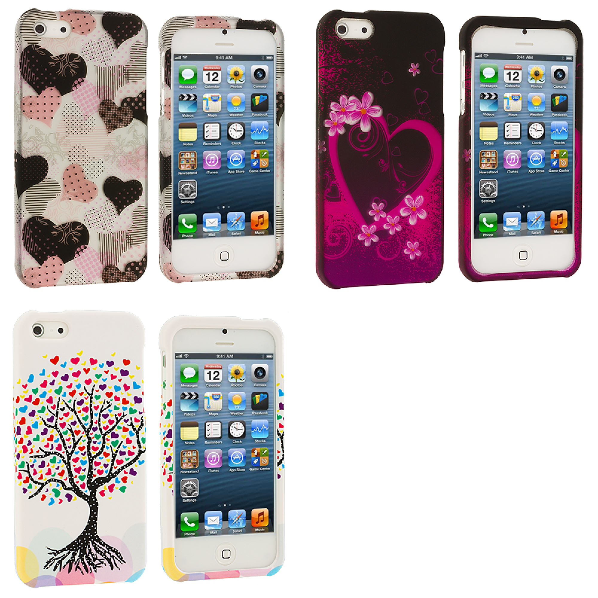 Apple iPhone 5 3 in 1 Combo Bundle Pack - Heart Love Tree Hard Rubberized Design Case Cover