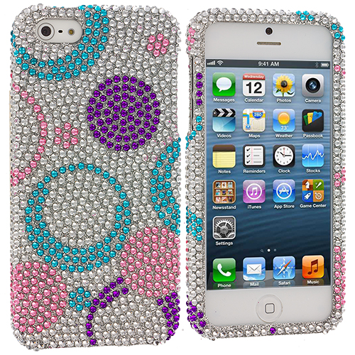 Apple iPhone 5/5S/SE Circles Purple n Silver Bling Rhinestone Case Cover