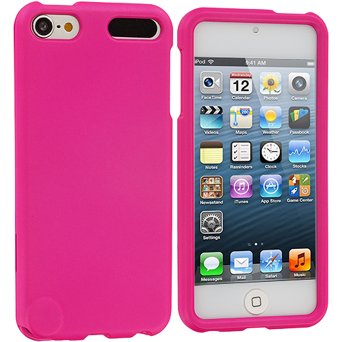 Apple iPod Touch 5th 6th Generation 2 in 1 Combo Bundle Pack - Baby Blue Pink Hard Rubberized Case Cover : Color Pink