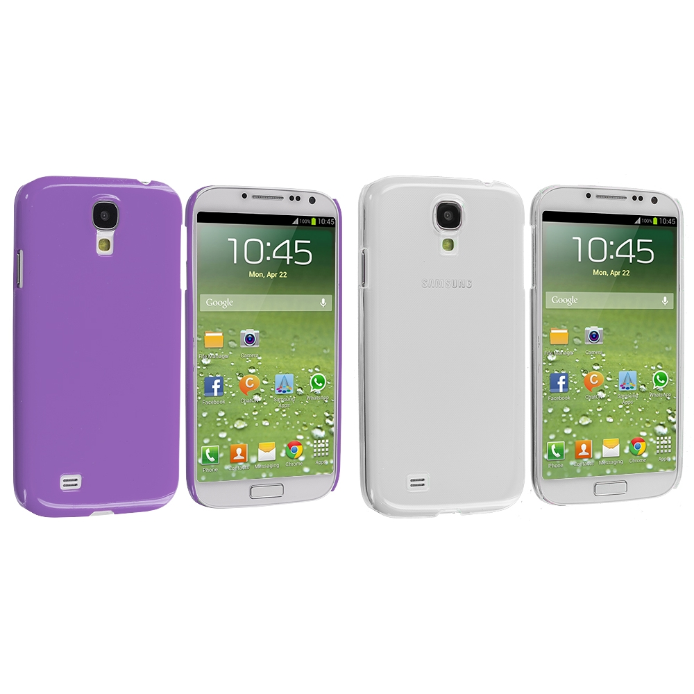 Samsung Galaxy S4 2 in 1 Combo Bundle Pack - Clear Purple Crystal Hard Back Cover Case