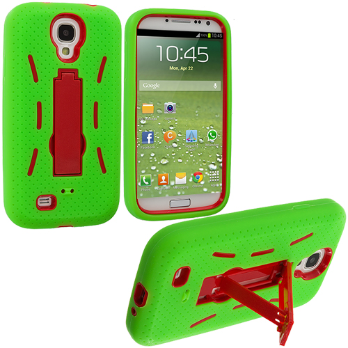 Samsung Galaxy S4 Neon Green / Red Hybrid Heavy Duty Hard/Soft Case Cover with Stand
