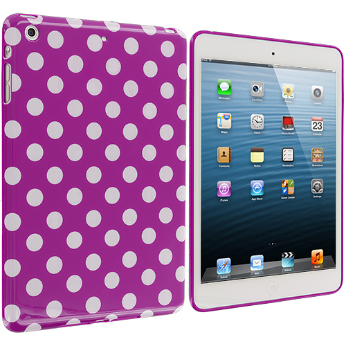 Apple iPad Mini Purple / White TPU Polka Dot Skin Case Cover