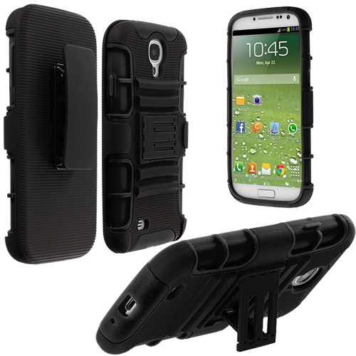 Samsung Galaxy S4 Black / Black Hybrid Heavy Duty Hard/Soft Case Cover with Holster