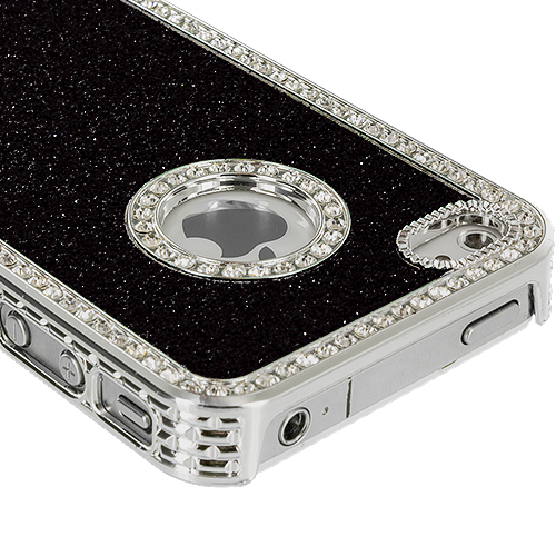 Apple iPhone 4 Black Diamond Bling Glitter Case Cover