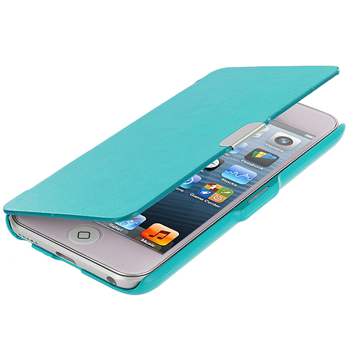 Apple iPod Touch 5th 6th Generation Baby Blue Texture Magnetic Wallet Case Cover Pouch