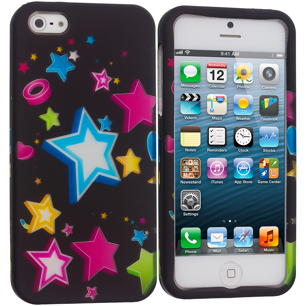 Apple iPhone 5/5S/SE Colorful Shooting Star Hard Rubberized Design Case Cover