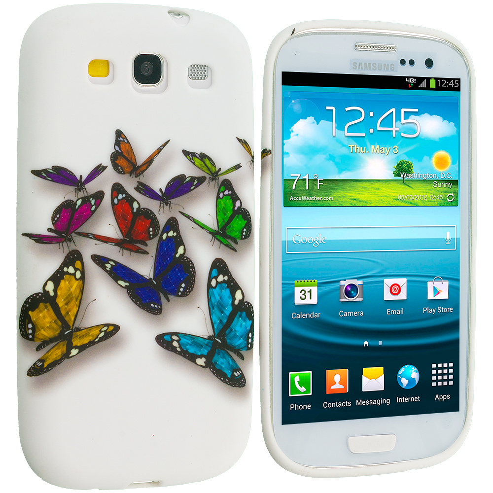 Samsung Galaxy S3 Blue Colorful Butterfly TPU Design Soft Case Cover