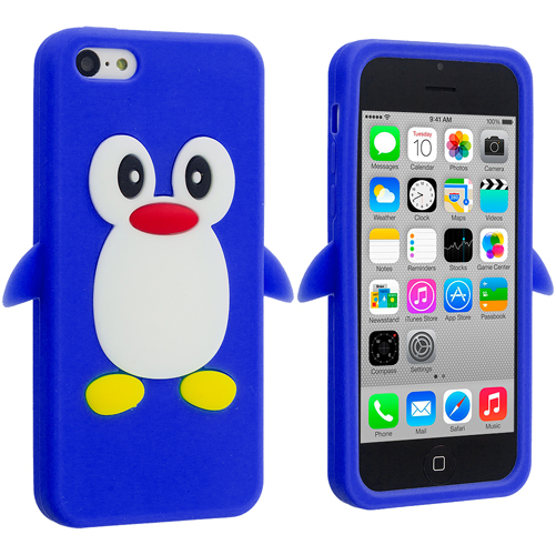 Apple iPhone 5C Blue Penguin Silicone Design Soft Skin Case Cover
