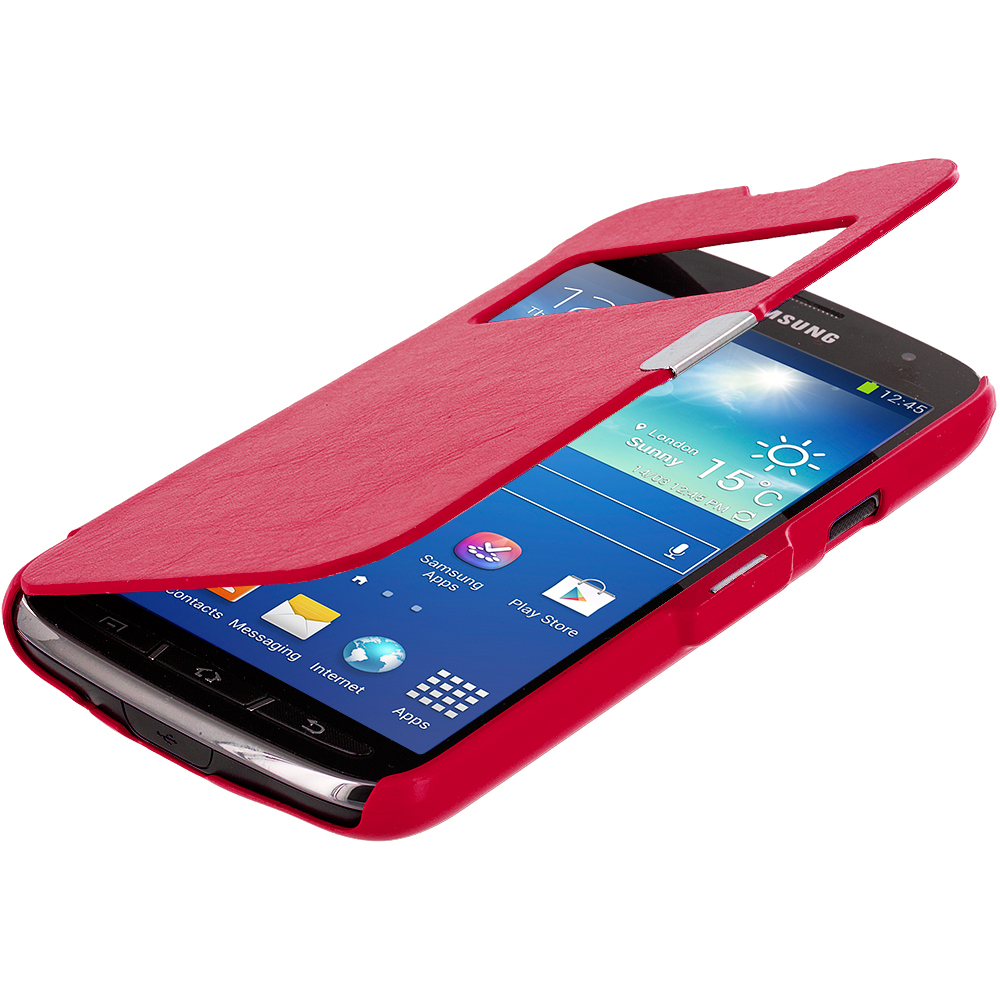 Samsung Galaxy S4 Active i537 Red (Open) Magnetic Wallet Case Cover Pouch