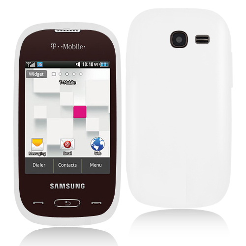 Samsung Gravity Q T289 White Hard Rubberized Case Cover