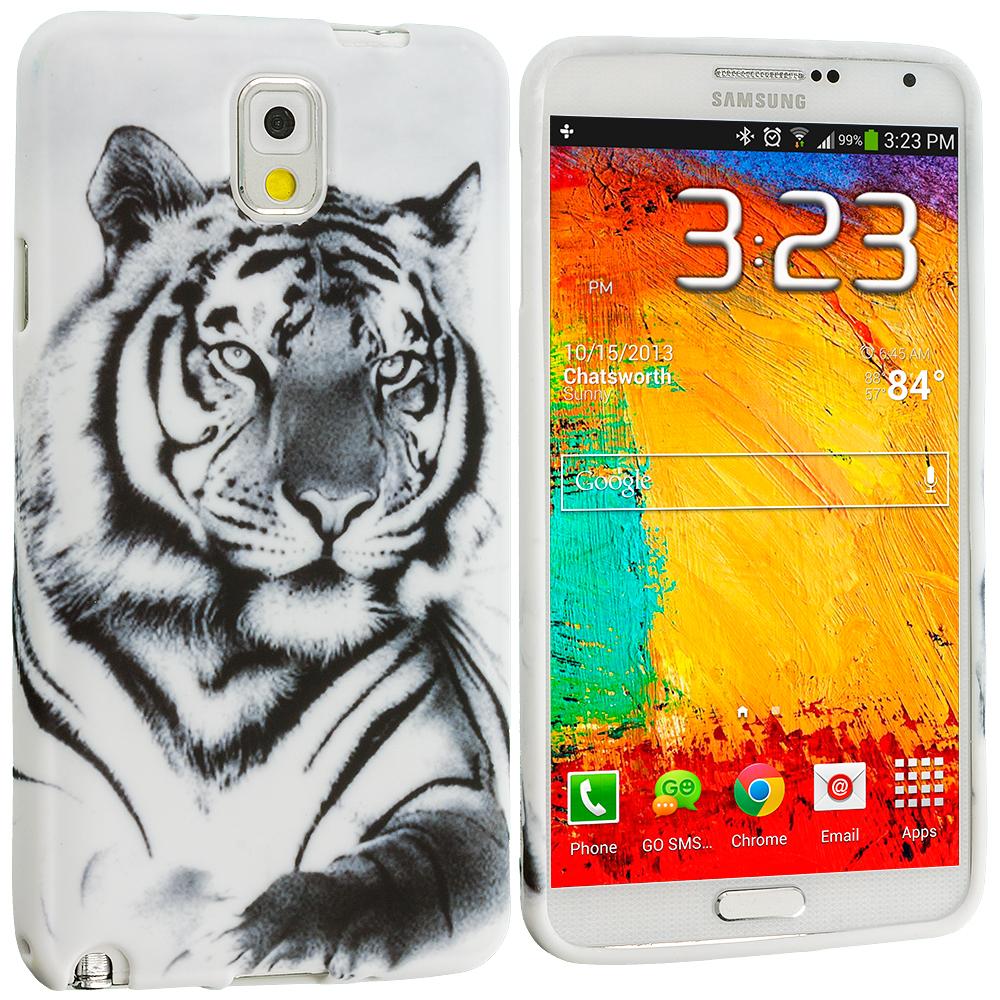 Samsung Galaxy Note 3 N9000 White Tiger TPU Design Soft Case Cover