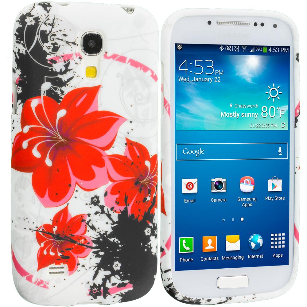 Samsung Galaxy S4 Mini i9190 Red Flower TPU Design Soft Case Cover