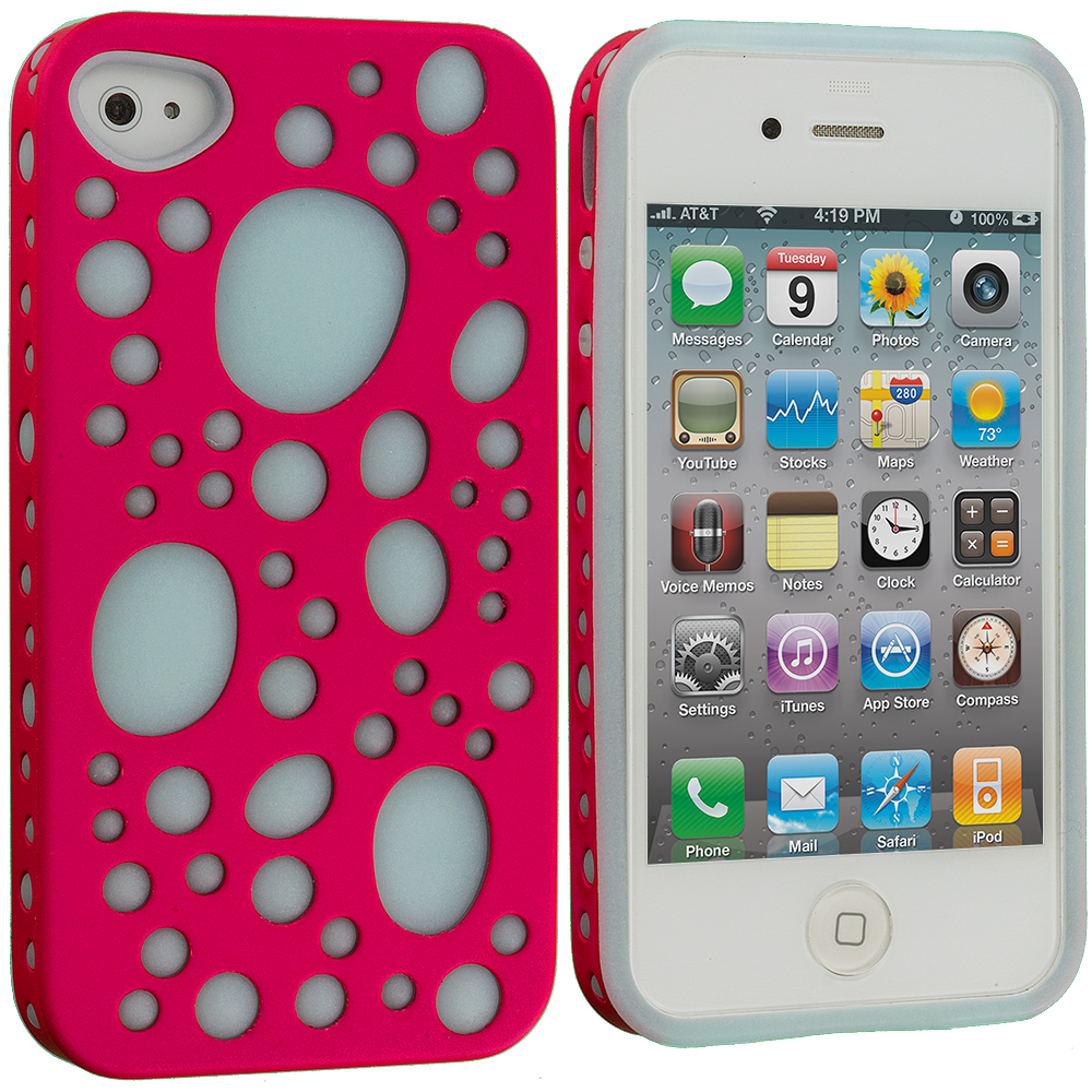 Apple iPhone 4 / 4S Pink / Blue Hybrid Bubble Hard/Soft Skin Case Cover