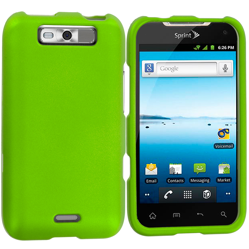 LG Viper / Connect Neon Green Hard Rubberized Case Cover