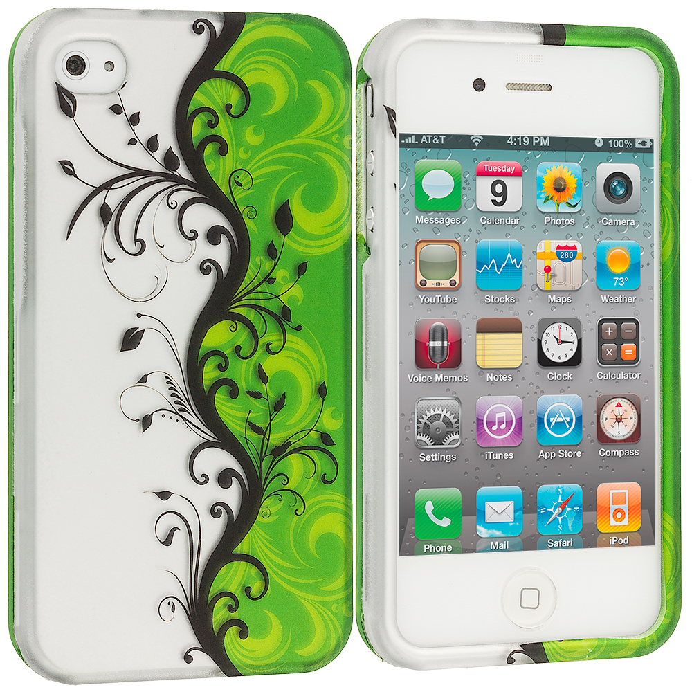 Apple iPhone 4 / 4S Green / White Swirl2D Hard Rubberized Design Case Cover
