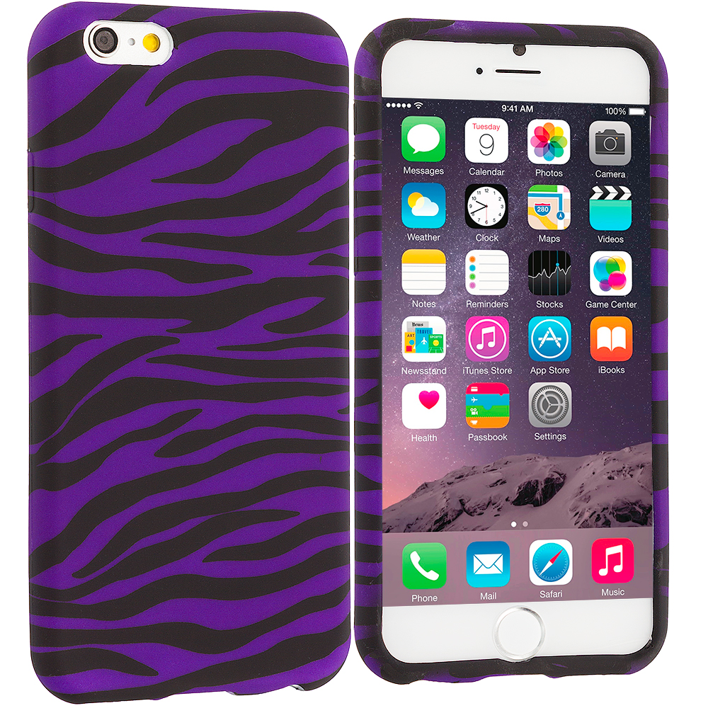 Apple iPhone 6 6S (4.7) 8 in 1 Combo Bundle Pack - TPU Design Soft Case Cover : Color Black / Purple Zebra