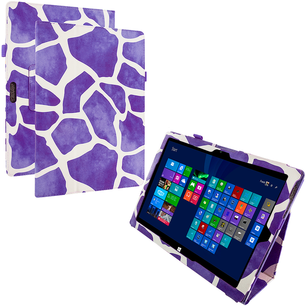 Microsoft Surface Pro 3 Design Giraffe Purple Folio Pouch Flip Case Cover Stand