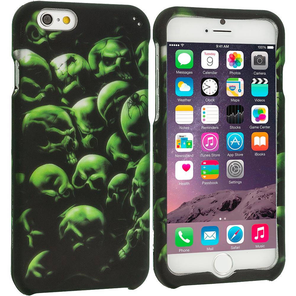 Apple iPhone 6 6S (4.7) Green Skulls 2D Hard Rubberized Design Case Cover