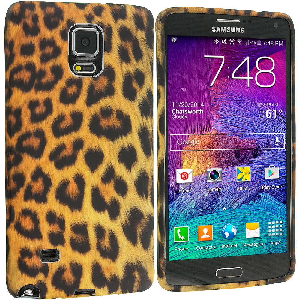 Samsung Galaxy Note 4 Leopard Print TPU Design Soft Rubber Case Cover