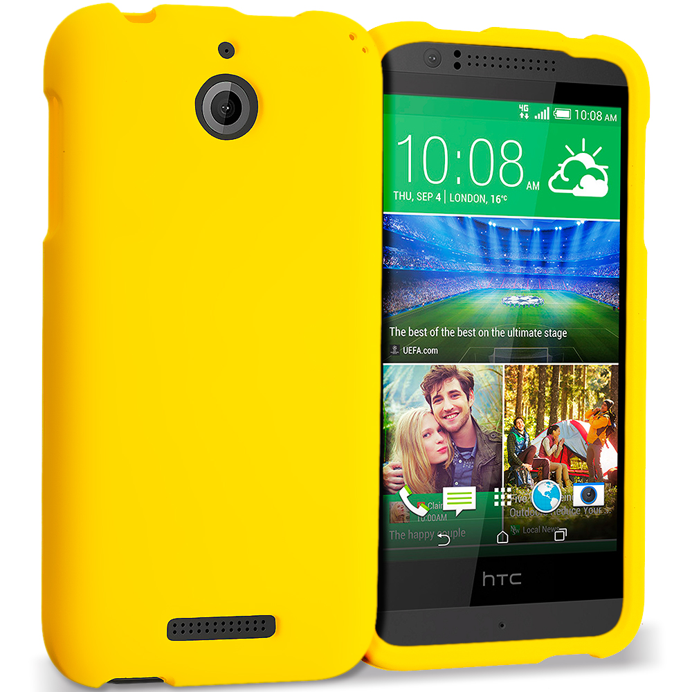 HTC Desire 510 Yellow Hard Rubberized Case Cover