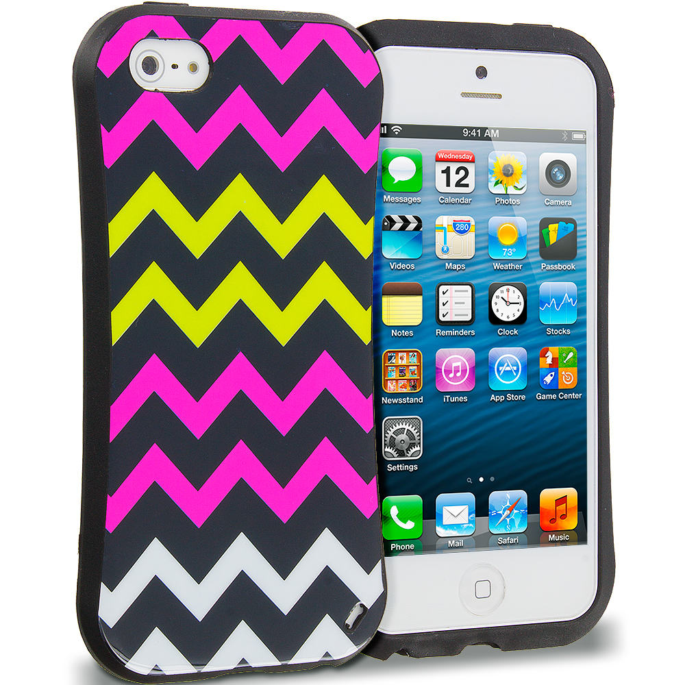Apple iPhone 5/5S/SE Combo Pack : Hot pink Wave Hybrid TPU Hard Soft Shockproof Drop Proof Case Cover : Color Hot pink Wave