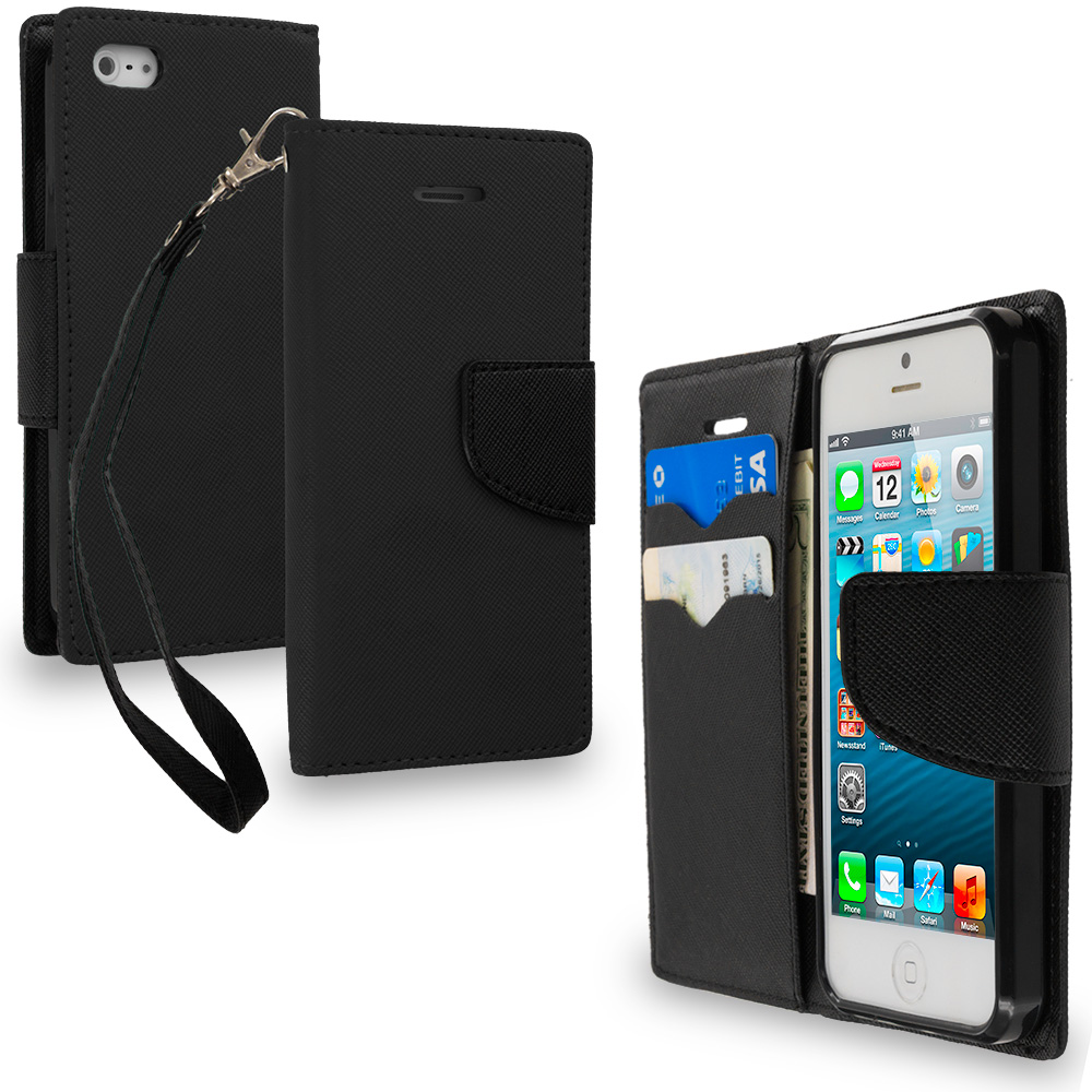 Apple iPhone 5/5S/SE Combo Pack : Black / Black Leather Flip Wallet Pouch TPU Case Cover with ID Card Slots : Color Black / Black