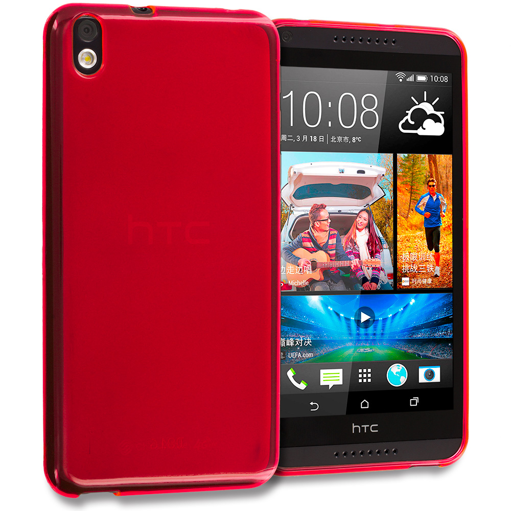 HTC Desire 816 Red TPU Rubber Skin Case Cover