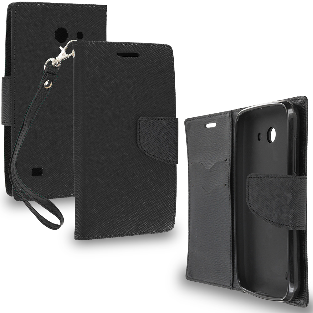 Huawei Tribute Fusion 3 Y536A1 Black / Black Leather Flip Wallet Pouch TPU Case Cover with ID Card Slots