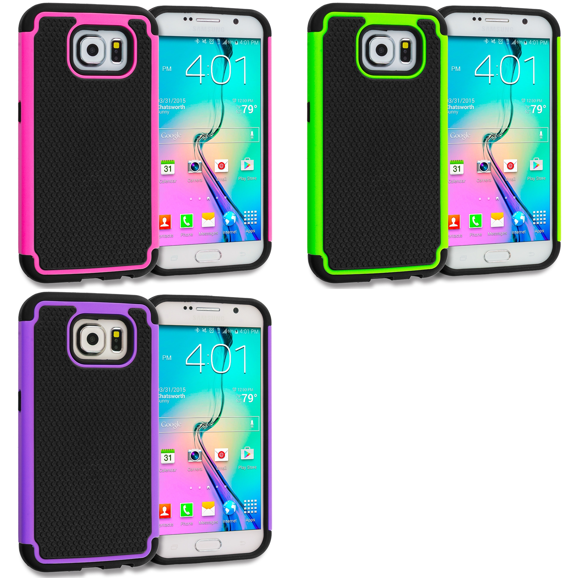 Samsung Galaxy S6 Combo Pack : Black / Hot Pink Hybrid Rugged Grip Shockproof Case Cover