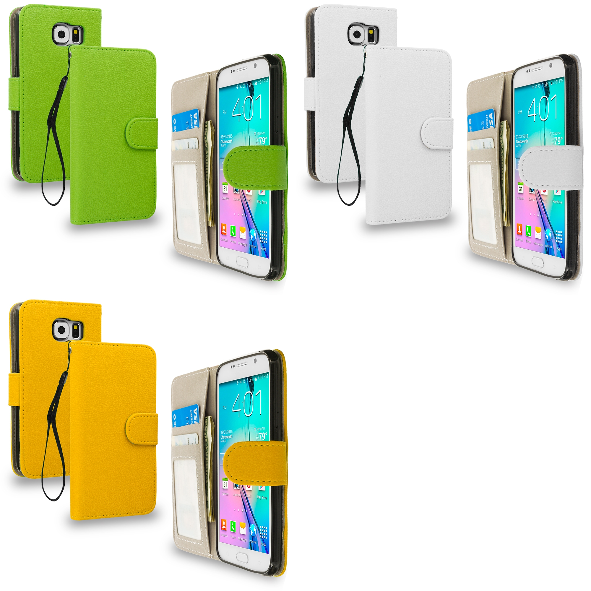 Samsung Galaxy S6 Combo Pack : Neon Green Leather Wallet Pouch Case Cover with Slots