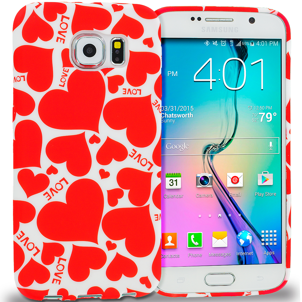 Samsung Galaxy S6 Hearts w Different Shapes TPU Design Soft Rubber Case Cover