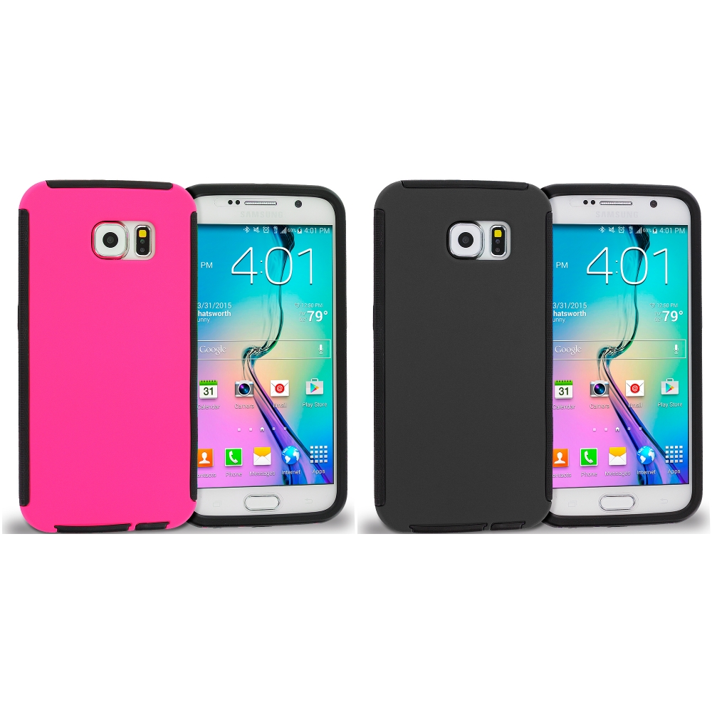 Samsung Galaxy S6 2 in 1 Combo Bundle Pack - Hybrid Hard TPU Shockproof Case Cover With Built in Screen Protector