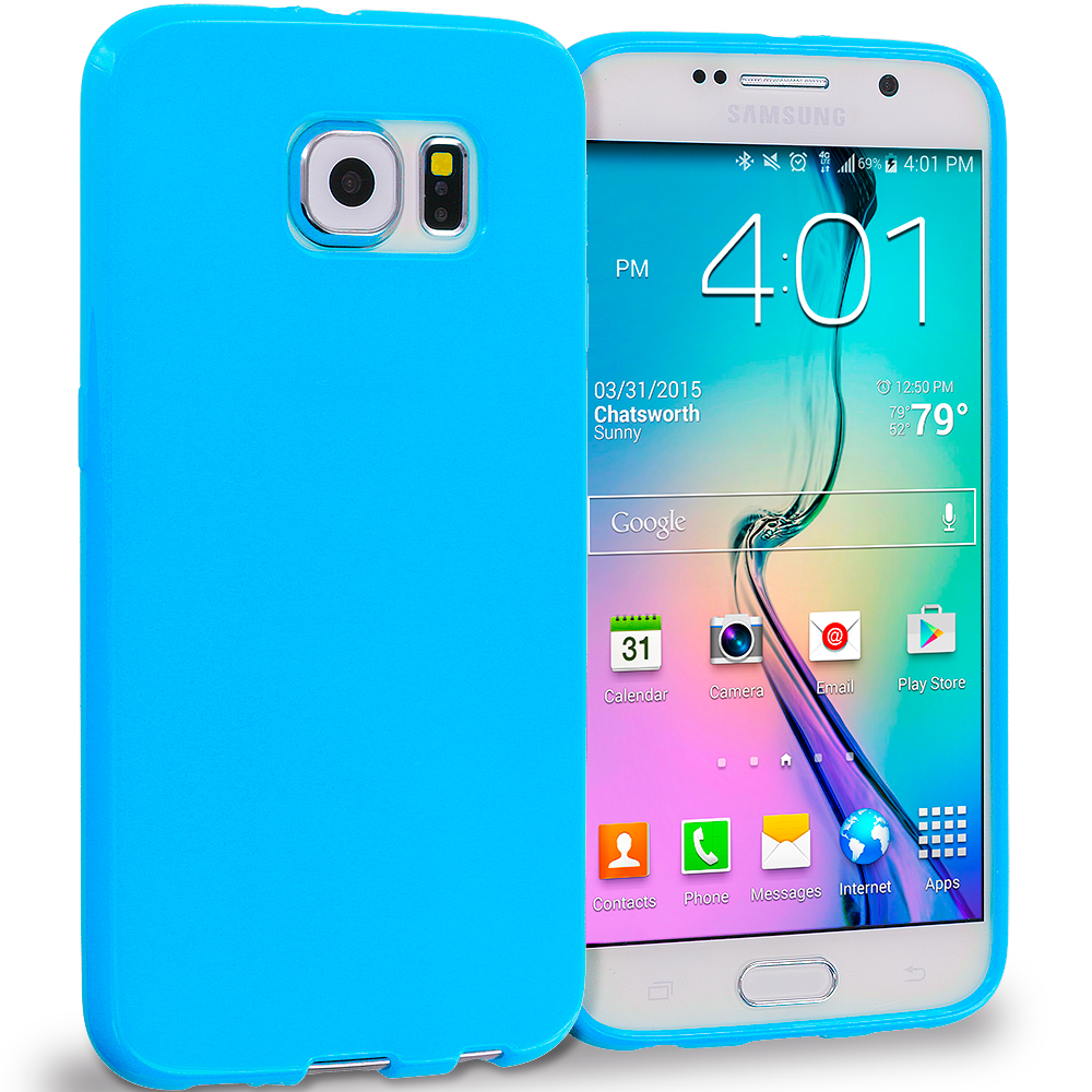 Samsung Galaxy S6 Baby Blue Solid TPU Rubber Skin Case Cover