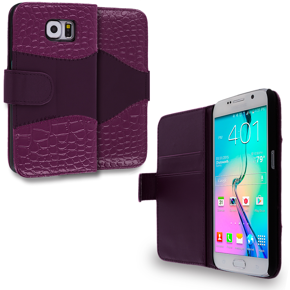 Samsung Galaxy S6 Purple Crocodile Leather Wallet Pouch Case Cover with Slots