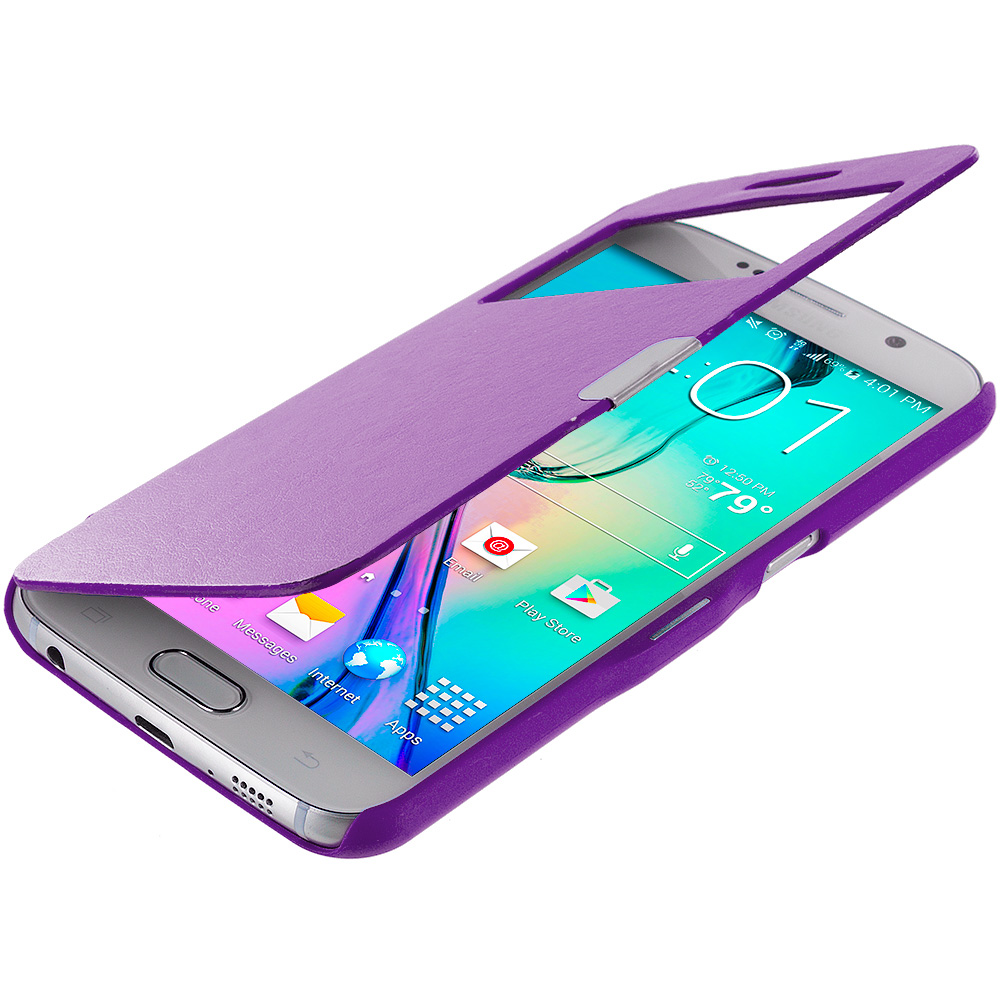Samsung Galaxy S6 Purple With Window Magnetic Flip Wallet Case Cover Pouch