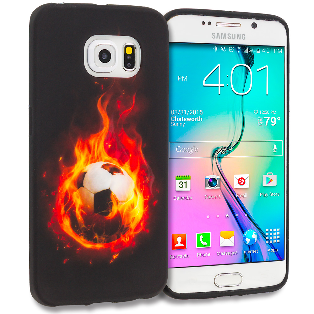Samsung Galaxy S6 Edge Flaming Soccer Ball TPU Design Soft Rubber Case Cover