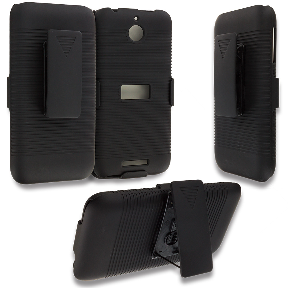 HTC Desire 510 512 Black Belt Clip Holster Hard Case Cover