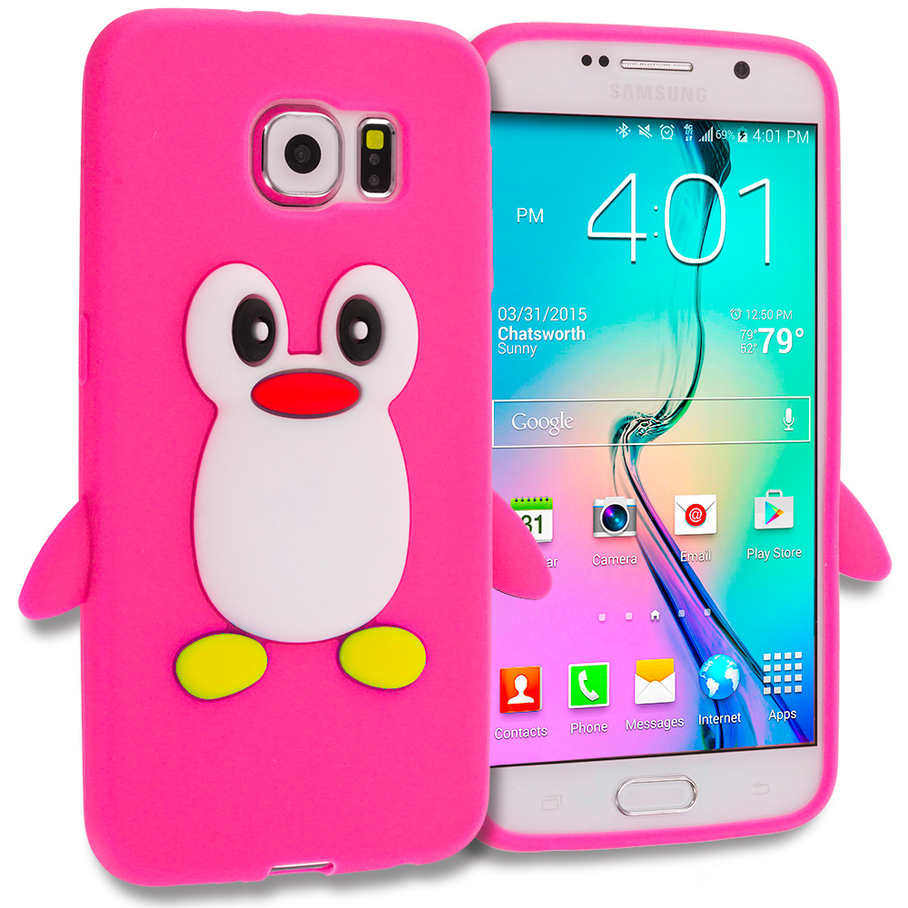Samsung Galaxy S6 Hot Pink Penguin Silicone Design Soft Skin Case Cover