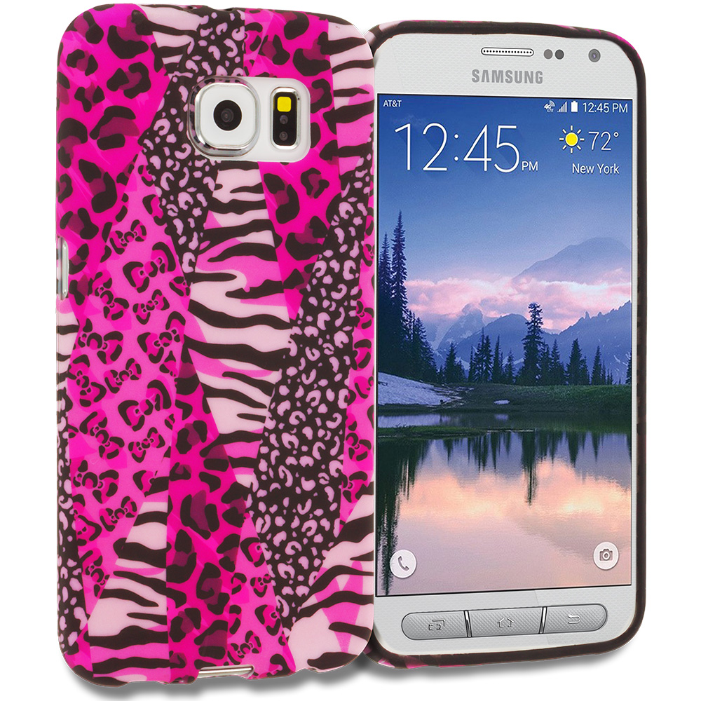 Samsung Galaxy S6 Active Bowknot Zebra TPU Design Soft Rubber Case Cover